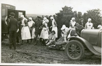 Black and white photograph of VADs at an inspection dated 1925