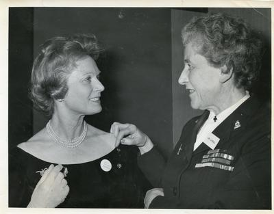 Black and white photograph of Lady Angela Limerick with Anna Neagle