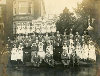 Black and white photograph of Radyr Red Cross Auxiliary Hospital during the First World War