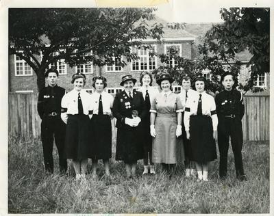 Black and white photograph of a Junior Red Cross group from the Hampshire, Surrey and Isle of Wight area