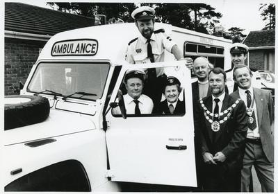 Black and white photograph of a new Landrover field ambulance in the Hampshire, Surrey and Isle of Wight area