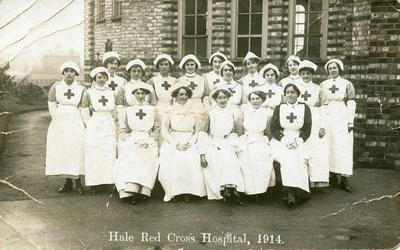 Black and white photograph of Hale Red Cross Hospital in Cheshire during the First World War