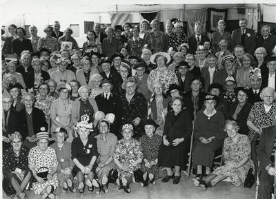 Black and white photograph of the Bridgewater Division celebrating the coronation in 1953