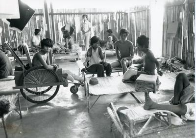 Black and white photograph of Khao-I-Dang Hospital in Thailand
