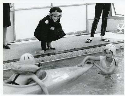 Black and white photograph of Diana Princess of Wales when she visited a holiday centre for disabled children at Hindleap Activity Centre, run by the Sussex branch
