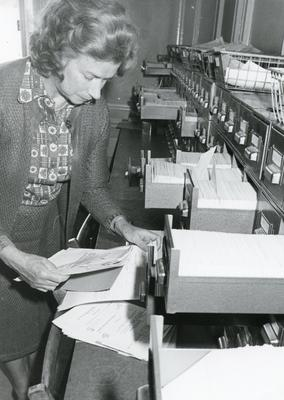 Black and white photograph of case registry at the British Red Cross National Headquarters