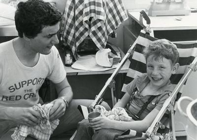 Black and white photograph of a disabled children's holiday in Buckinghamshire