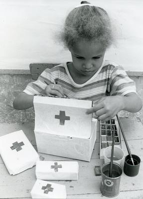 Black and white photograph of a Red Cross kindergarten in Praia on Santiago