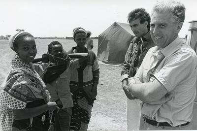 Black and white photograph of Red Cross relief work in Somalia 1980