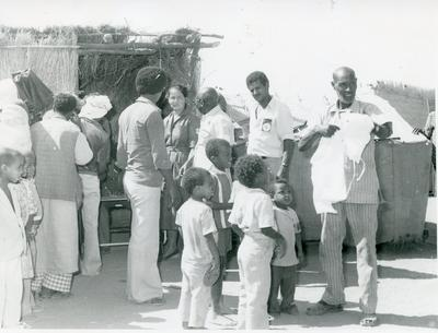 Black and white photograph of Red Cross relief work in Sudan 1983