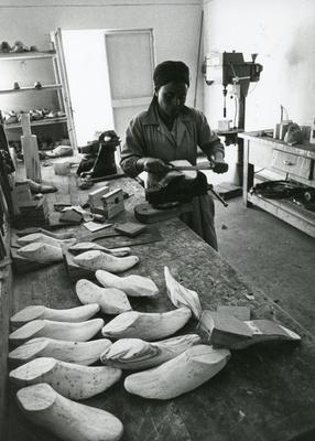 Black and white photograph of Red Cross relief work in Debre 1981
