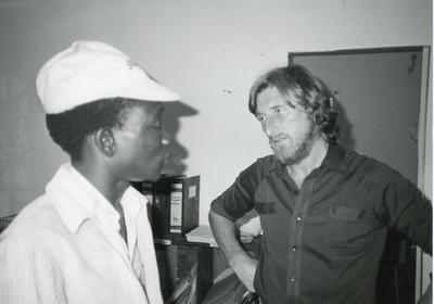 Black and white photograph of Red Cross relief work in Uganda