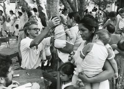 Black and white photograph of ICRC work in Central America