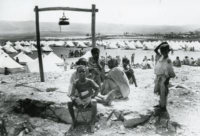 Black and white photograph of Red Cross work in Ethiopia