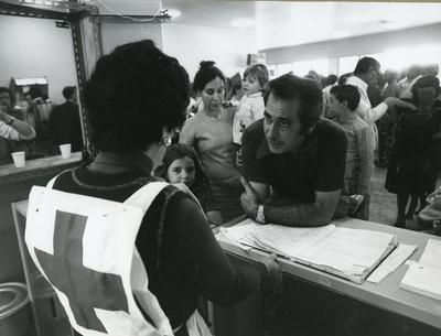 Black and white photograph of activities of the Portuguese Red Cross Youth