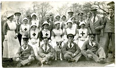 V.A.D. nurses, medical staff and patients on the grounds of Leeswood Hall VAD Hospital, Flintshire.