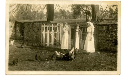 Two VADs and a Hospital Nurse on the Grounds of Leeswood Hall VAD Hospital