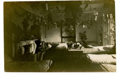 Hawarden Ward at Leeswood Hall V.A.D. Hospital decorated for Christmas.