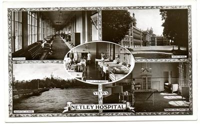 A postcard of various views of Netley Hospital.