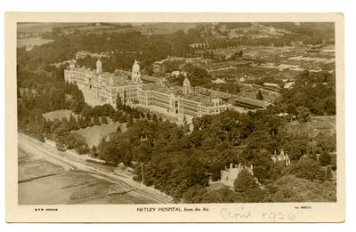 Postcard featuring an aerial view of Netley hospital; 0324/IN7062