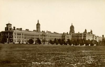 Postcard featuring an external view of Netley Hospital, Hampshire