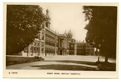 Postcard featuring the West wing of Netley Hospital, Hampshire