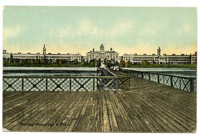 Postcard featuring 'Netley Hospital and Pier'; 0324/IN7068