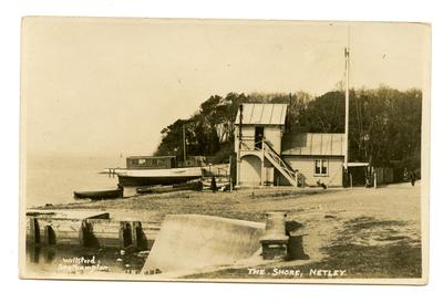 Postcard featuring 'The Shore , Netley'.