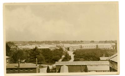 Postcard featuring the hutted Red Cross Hospital.; 0324/IN7073