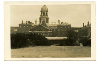 Postcard featuring the Royal Victoria Hospital and railway station. April 1916; 0324/IN7074