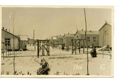 Postcard featuring the Red Cross hutted hospital in Netley, Hampshire on a winter's day in 1916; 0324/IN7077
