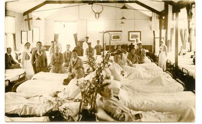 Red Cross Hospital Recreation Room being used as a temporary ward.; 0324/IN7093