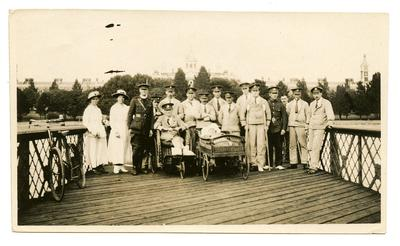 Staff and patients on the pier