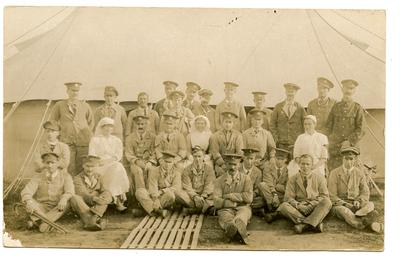 Patients and hospital staff posing in the grounds of the Red Cross Hospital, Netley.
