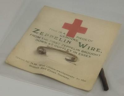 Tie pin made from Zeppelin wire sold to fundraise for British Red Cross
