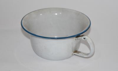 Small, enamel chamber pot.