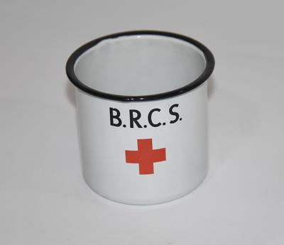 Tin mug displaying the Red Cross emblem