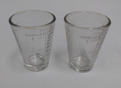 Set of 2 glass two-tablespoon measuring beakers
