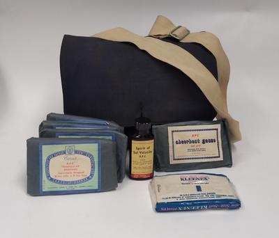 First Aid kit in blue canvas haversack