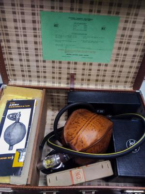 AMBU Air / Oxygen Resuscitator in brown leather case