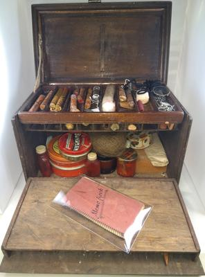 Theatrical makeup set in lockable wooden box to be used for casualty simulation (faking) exercises