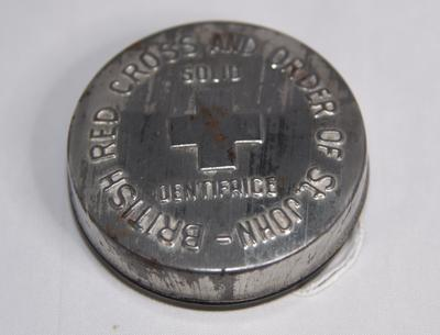 British Red Cross and Order of St John solid dentifrice tin.
