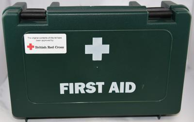 First Aid kit for children in plastic green box