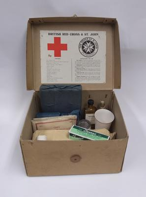 British Red Cross and Order of St John Joint War Organisation First Aid Kit; Joint War Committee of the British Red Cross Society and the Order of St John of Jerusalem in England; Medical Equipment/first aid kit; 2590/4