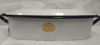 Large, white enamel steriliser with removable lid