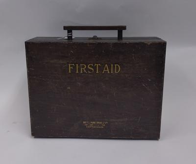 Factory first aid kit in wooden case