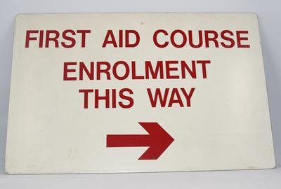 Sign: First Aid Course Enrolement This Way