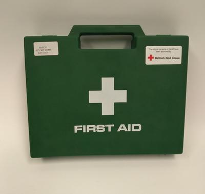 First aid kit in green plastic case