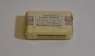 """Small capsule of '""""Azoule"""" Fragrant Ammonia"""