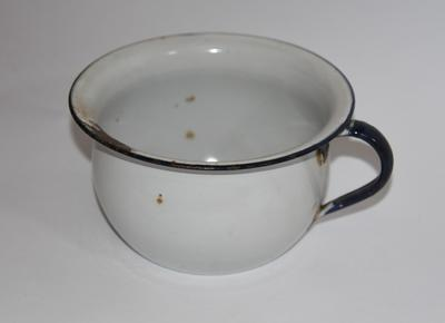 Collection of three enamel chamber pots